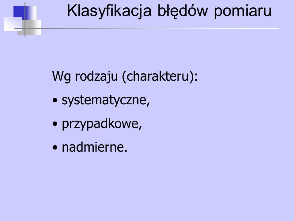 Klasyfikacja błędów pomiaru Wg rodzaju (charakteru): systematyczne, przypadkowe, nadmierne.