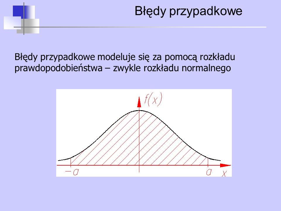 Błędy przypadkowe Błędy przypadkowe modeluje się za pomocą rozkładu prawdopodobieństwa – zwykle rozkładu normalnego