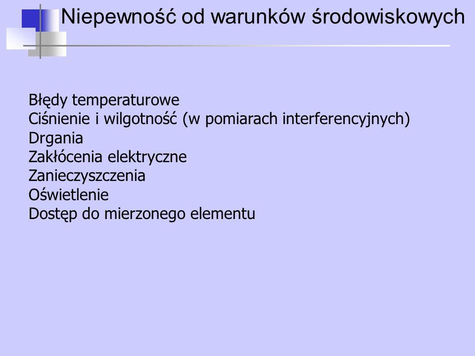 Niepewność od warunków środowiskowych Błędy temperaturowe Ciśnienie i wilgotność (w pomiarach interferencyjnych) Drgania Zakłócenia elektryczne Zaniec