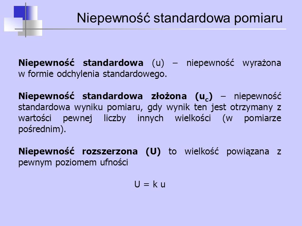 Niepewność standardowa pomiaru Niepewność standardowa (u) – niepewność wyrażona w formie odchylenia standardowego. Niepewność standardowa złożona (u c