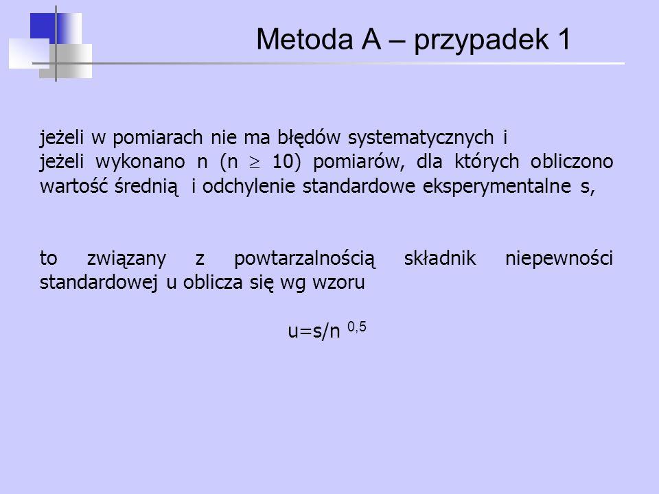 Metoda A – przypadek 1 jeżeli w pomiarach nie ma błędów systematycznych i jeżeli wykonano n (n  10) pomiarów, dla których obliczono wartość średnią i