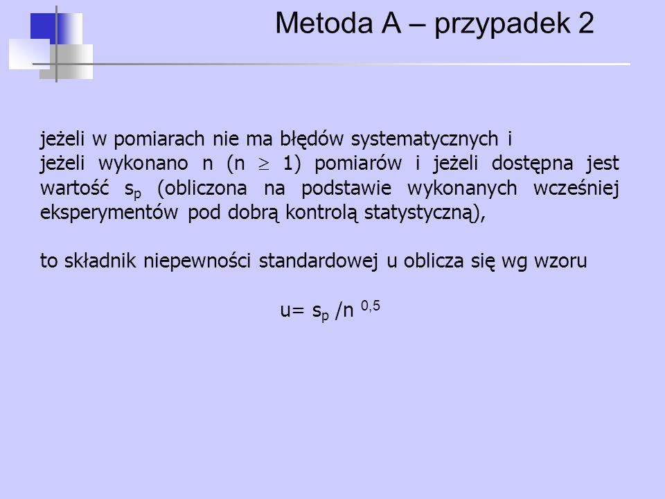 Metoda A – przypadek 2 jeżeli w pomiarach nie ma błędów systematycznych i jeżeli wykonano n (n  1) pomiarów i jeżeli dostępna jest wartość s p (oblic