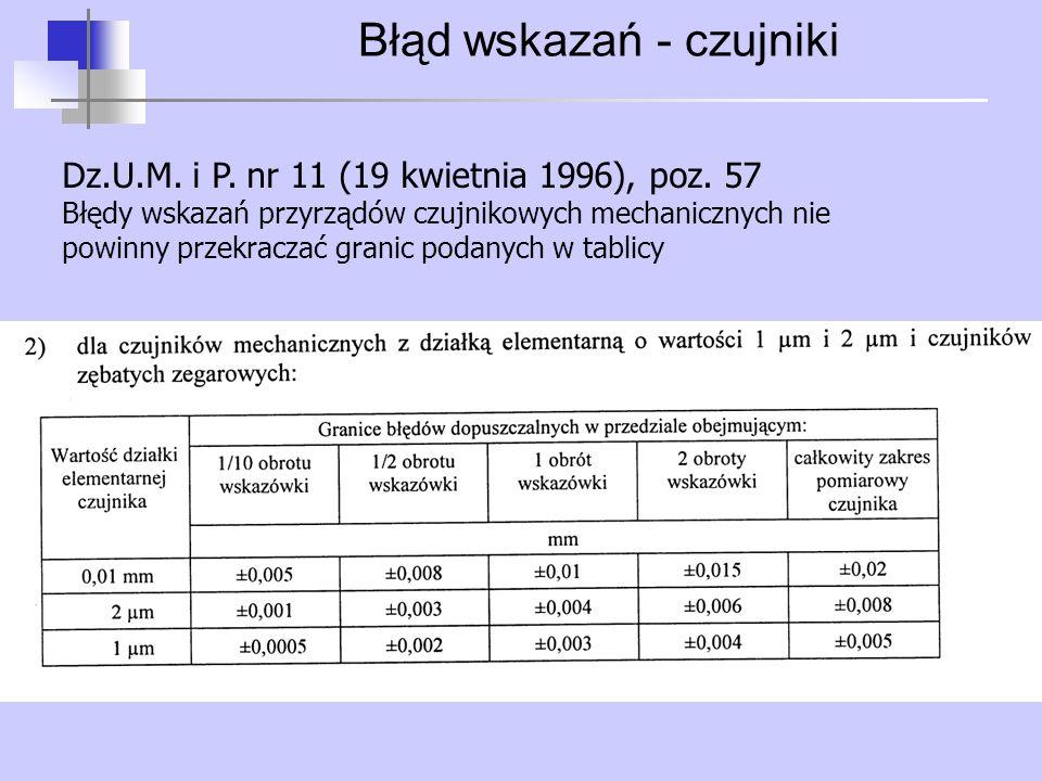 Błąd wskazań - czujniki Dz.U.M. i P. nr 11 (19 kwietnia 1996), poz. 57 Błędy wskazań przyrządów czujnikowych mechanicznych nie powinny przekraczać gra