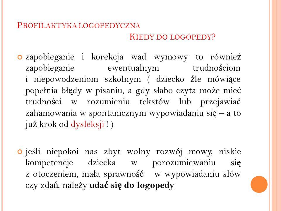 P ROFILAKTYKA LOGOPEDYCZNA K IEDY DO LOGOPEDY .
