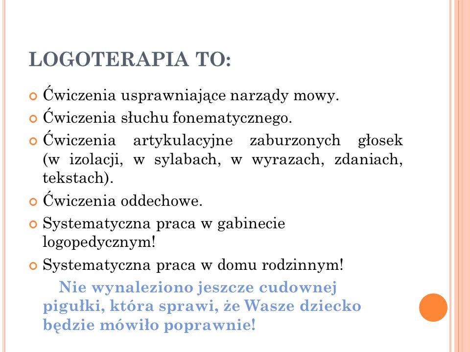LOGOTERAPIA TO: Ćwiczenia usprawniające narządy mowy. Ćwiczenia słuchu fonematycznego. Ćwiczenia artykulacyjne zaburzonych głosek (w izolacji, w sylab
