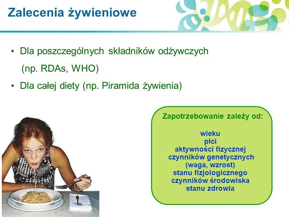 Dla poszczególnych składników odżywczych (np. RDAs, WHO) Dla całej diety (np. Piramida żywienia) Zalecenia żywieniowe Zapotrzebowanie zależy od: wieku