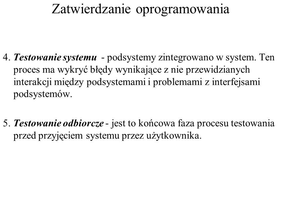 Zatwierdzanie oprogramowania 4. Testowanie systemu - podsystemy zintegrowano w system. Ten proces ma wykryć błędy wynikające z nie przewidzianych inte