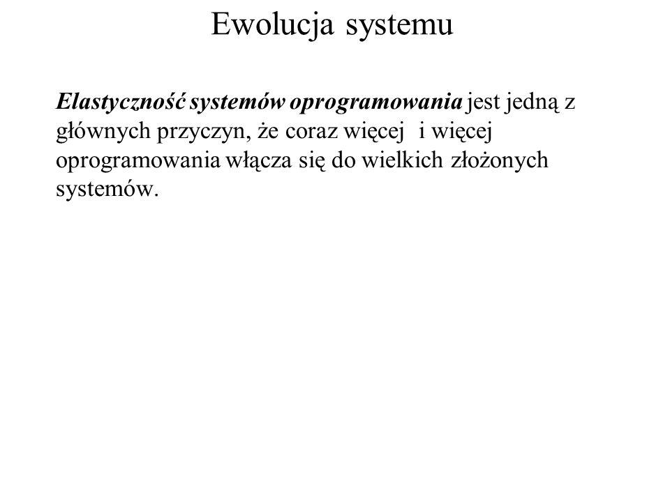 Ewolucja systemu Elastyczność systemów oprogramowania jest jedną z głównych przyczyn, że coraz więcej i więcej oprogramowania włącza się do wielkich złożonych systemów.
