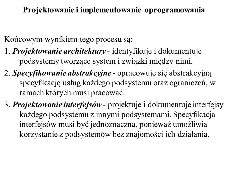 Projektowanie i implementowanie oprogramowania Końcowym wynikiem tego procesu są: 1. Projektowanie architektury - identyfikuje i dokumentuje podsystem