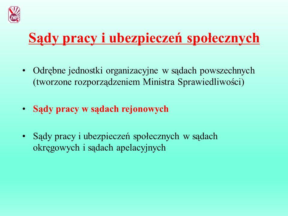 Sądy pracy i ubezpieczeń społecznych Odrębne jednostki organizacyjne w sądach powszechnych (tworzone rozporządzeniem Ministra Sprawiedliwości) Sądy pr