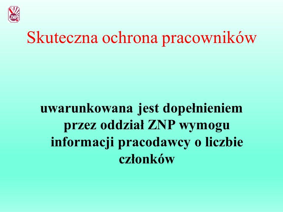 Skuteczna ochrona pracowników uwarunkowana jest dopełnieniem przez oddział ZNP wymogu informacji pracodawcy o liczbie członków