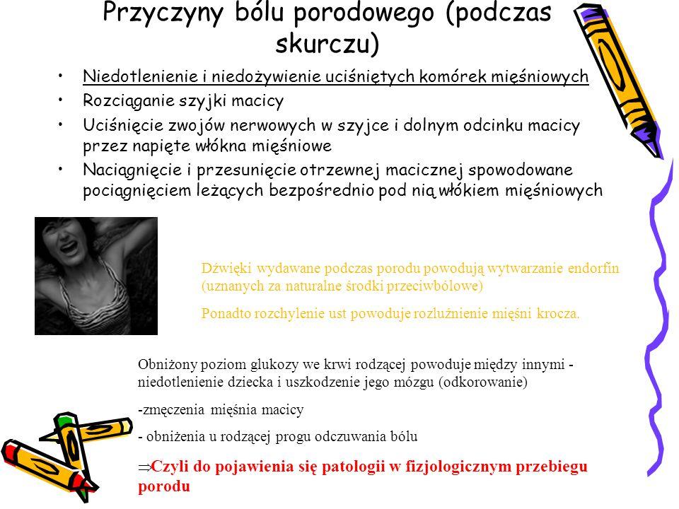 Przyczyny bólu porodowego (podczas skurczu) Niedotlenienie i niedożywienie uciśniętych komórek mięśniowych Rozciąganie szyjki macicy Uciśnięcie zwojów