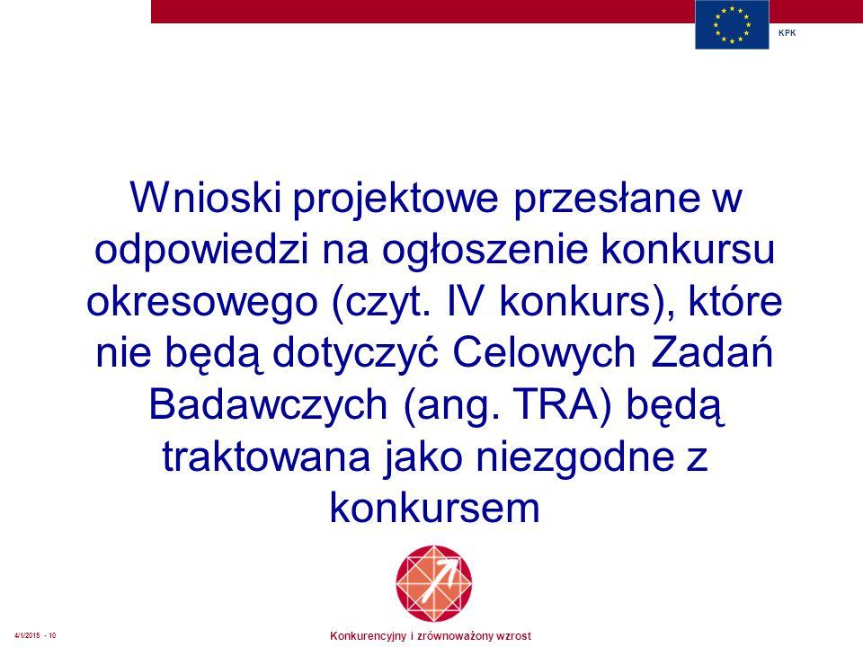 Konkurencyjny i zrównoważony wzrost KPK 4/1/2015 - 10 Wnioski projektowe przesłane w odpowiedzi na ogłoszenie konkursu okresowego (czyt. IV konkurs),