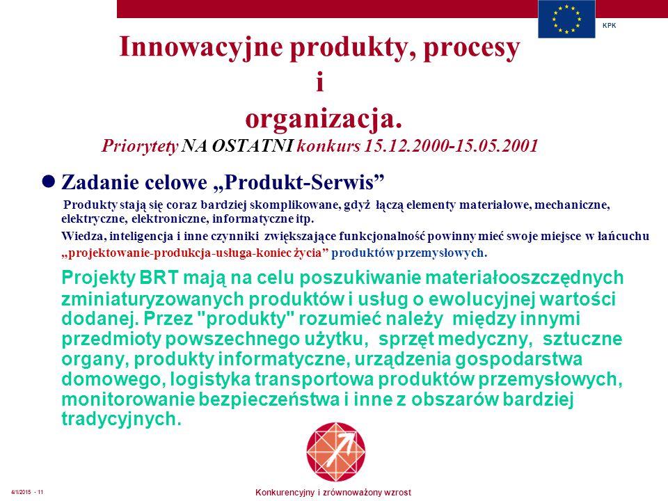Konkurencyjny i zrównoważony wzrost KPK 4/1/2015 - 11 Innowacyjne produkty, procesy i organizacja. Priorytety NA OSTATNI konkurs 15.12.2000-15.05.2001