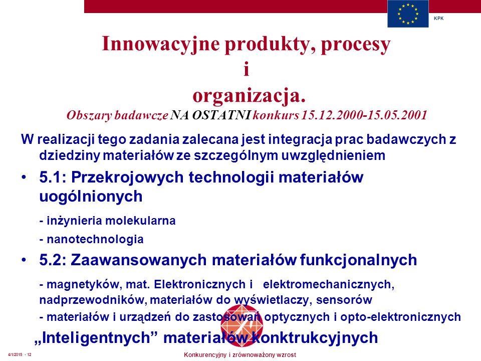 Konkurencyjny i zrównoważony wzrost KPK 4/1/2015 - 12 Innowacyjne produkty, procesy i organizacja. Obszary badawcze NA OSTATNI konkurs 15.12.2000-15.0