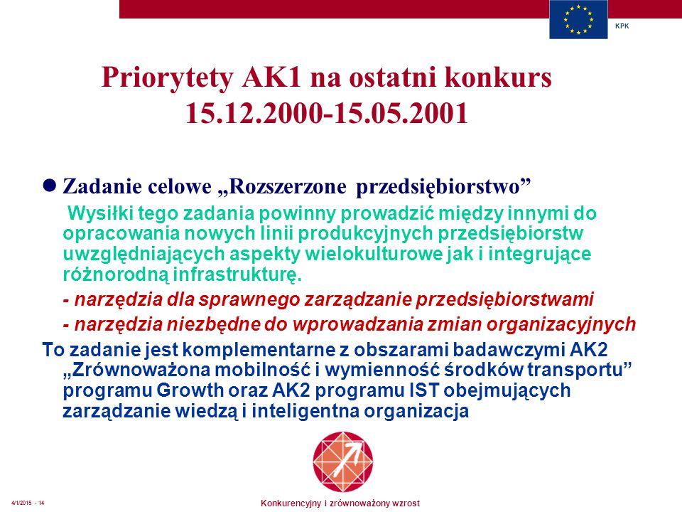 """Konkurencyjny i zrównoważony wzrost KPK 4/1/2015 - 14 Priorytety AK1 na ostatni konkurs 15.12.2000-15.05.2001 Zadanie celowe """"Rozszerzone przedsiębiorstwo Wysiłki tego zadania powinny prowadzić między innymi do opracowania nowych linii produkcyjnych przedsiębiorstw uwzględniających aspekty wielokulturowe jak i integrujące różnorodną infrastrukturę."""