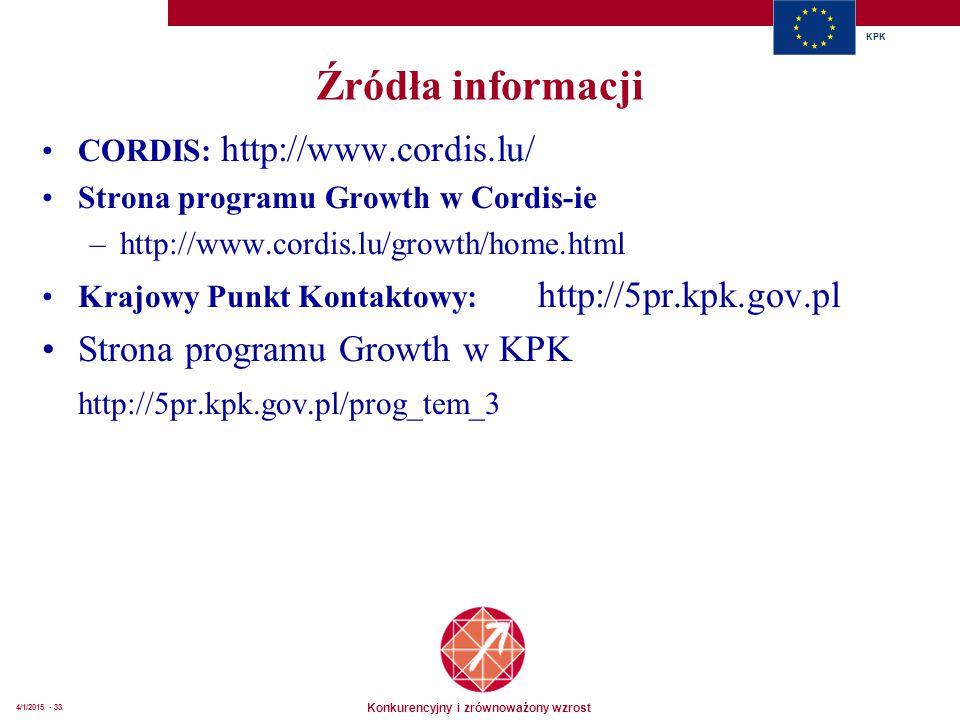 Konkurencyjny i zrównoważony wzrost KPK 4/1/2015 - 33 Źródła informacji CORDIS: http://www.cordis.lu/ Strona programu Growth w Cordis-ie –http://www.cordis.lu/growth/home.html Krajowy Punkt Kontaktowy: http://5pr.kpk.gov.pl Strona programu Growth w KPK http://5pr.kpk.gov.pl/prog_tem_3