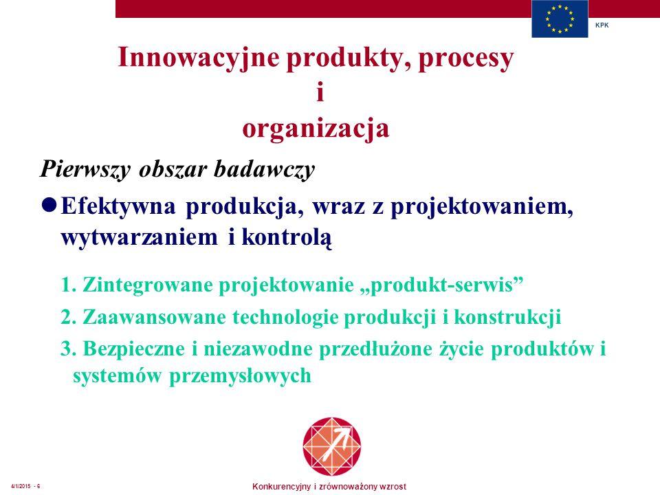 Konkurencyjny i zrównoważony wzrost KPK 4/1/2015 - 6 Innowacyjne produkty, procesy i organizacja Pierwszy obszar badawczy Efektywna produkcja, wraz z projektowaniem, wytwarzaniem i kontrolą 1.
