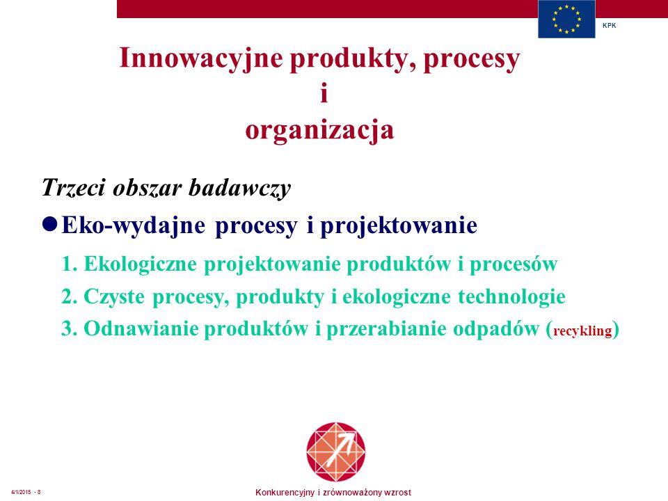 Konkurencyjny i zrównoważony wzrost KPK 4/1/2015 - 8 Innowacyjne produkty, procesy i organizacja Trzeci obszar badawczy Eko-wydajne procesy i projekto