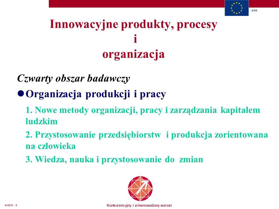 Konkurencyjny i zrównoważony wzrost KPK 4/1/2015 - 9 Innowacyjne produkty, procesy i organizacja Czwarty obszar badawczy Organizacja produkcji i pracy