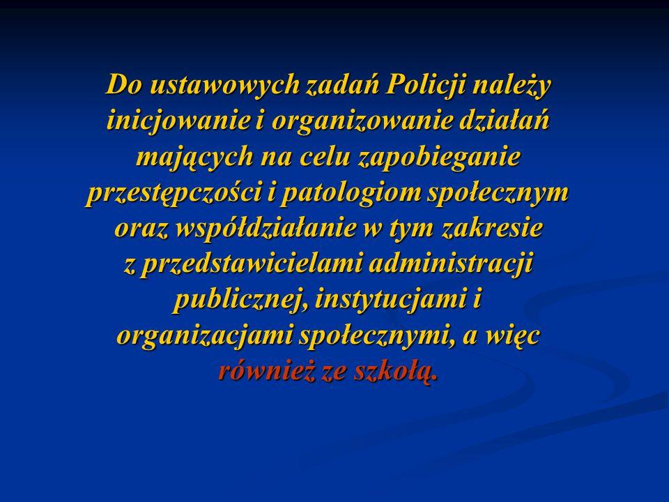 Do ustawowych zadań Policji należy inicjowanie i organizowanie działań mających na celu zapobieganie przestępczości i patologiom społecznym oraz współ