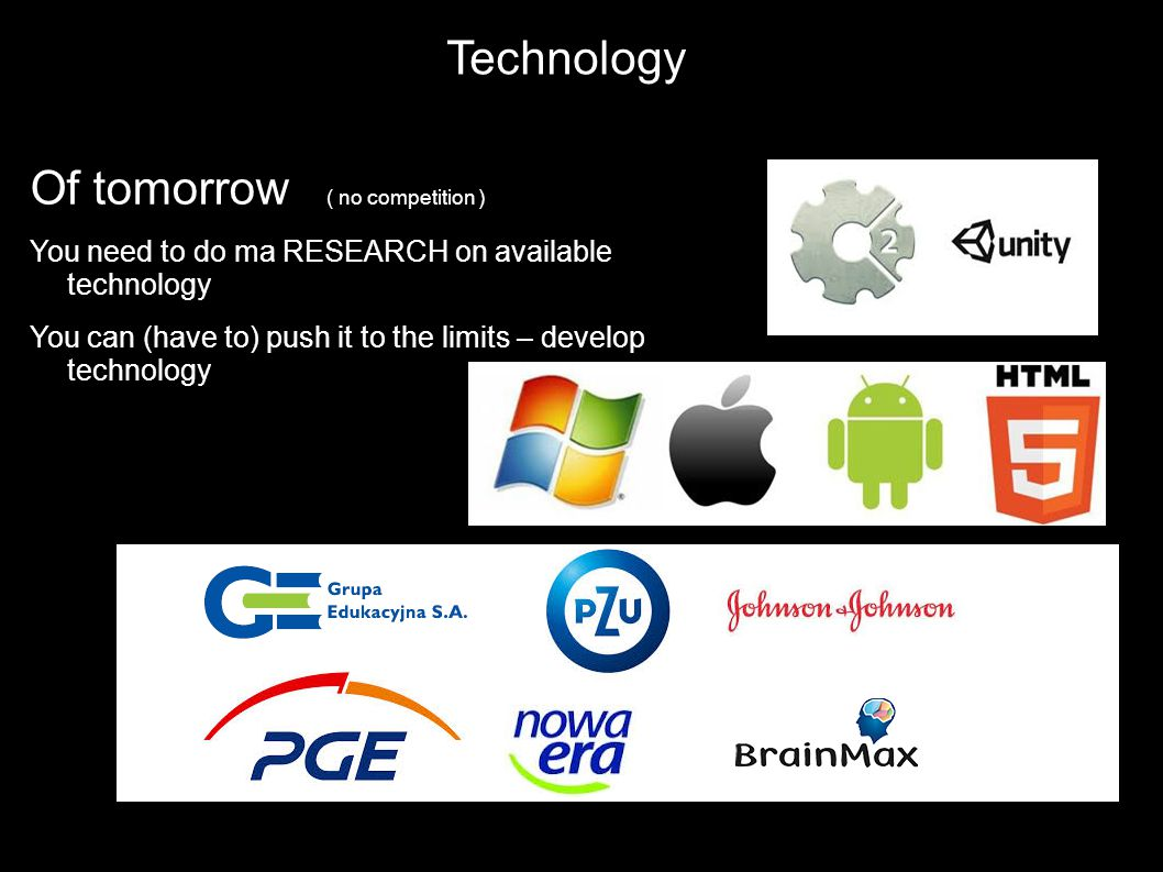 Technology Networking Of tomorrow ( no competition ) You need to do ma RESEARCH on available technology You can (have to) push it to the limits – deve