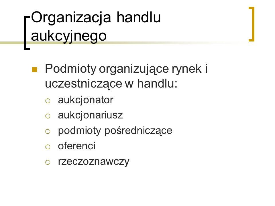 Organizacja handlu aukcyjnego Podmioty organizujące rynek i uczestniczące w handlu:  aukcjonator  aukcjonariusz  podmioty pośredniczące  oferenci