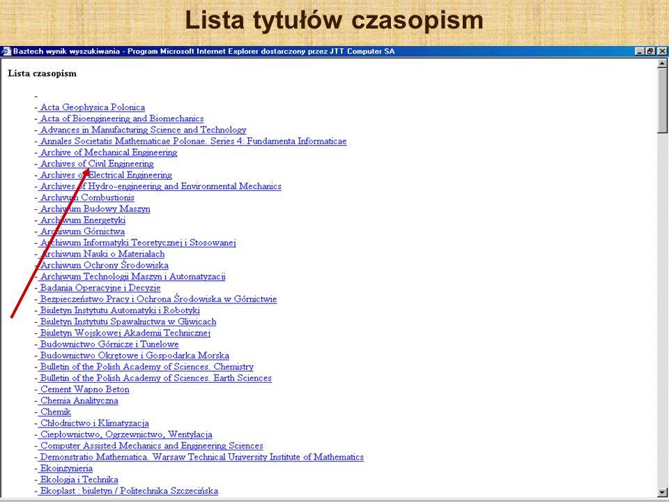 Lista tytułów czasopism