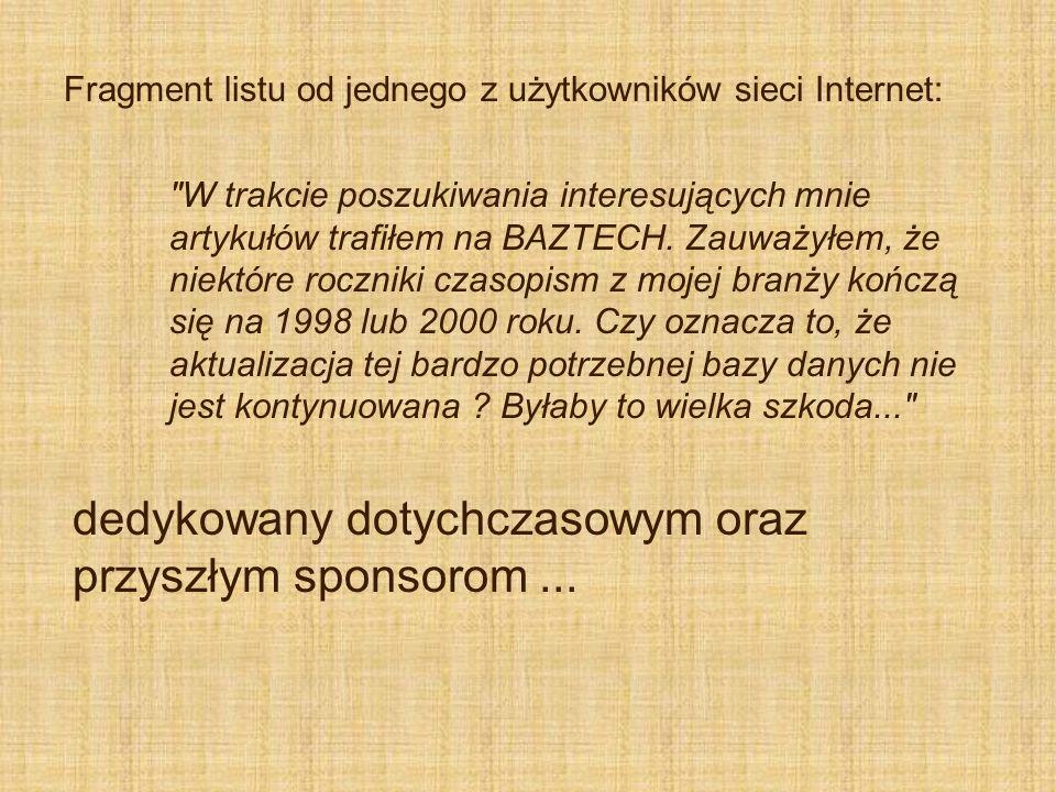 Fragment listu od jednego z użytkowników sieci Internet: