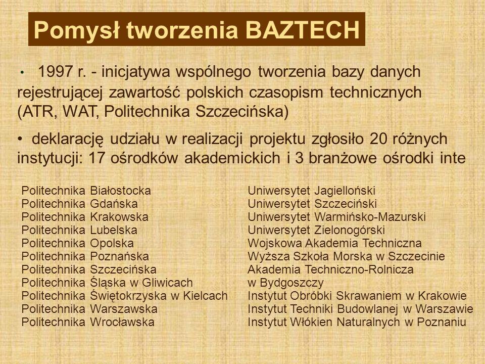 1997 r. - inicjatywa wspólnego tworzenia bazy danych rejestrującej zawartość polskich czasopism technicznych (ATR, WAT, Politechnika Szczecińska) dekl