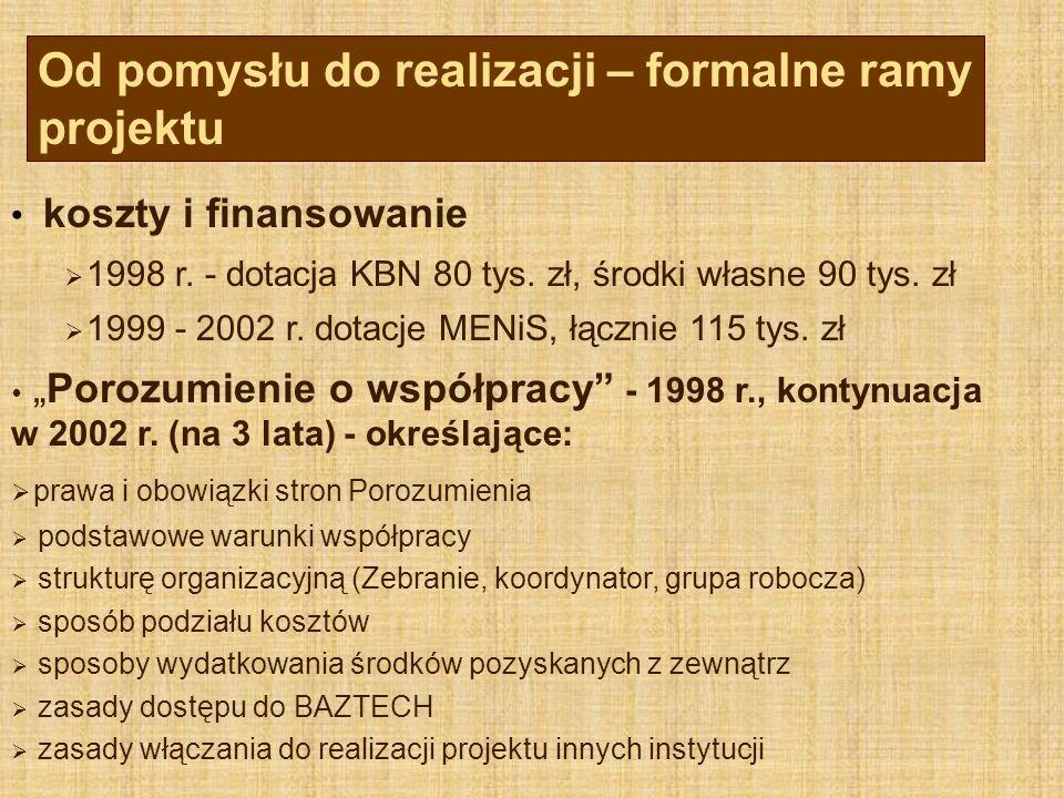 """koszty i finansowanie  1998 r. - dotacja KBN 80 tys. zł, środki własne 90 tys. zł  1999 - 2002 r. dotacje MENiS, łącznie 115 tys. zł  """"Porozumienie"""