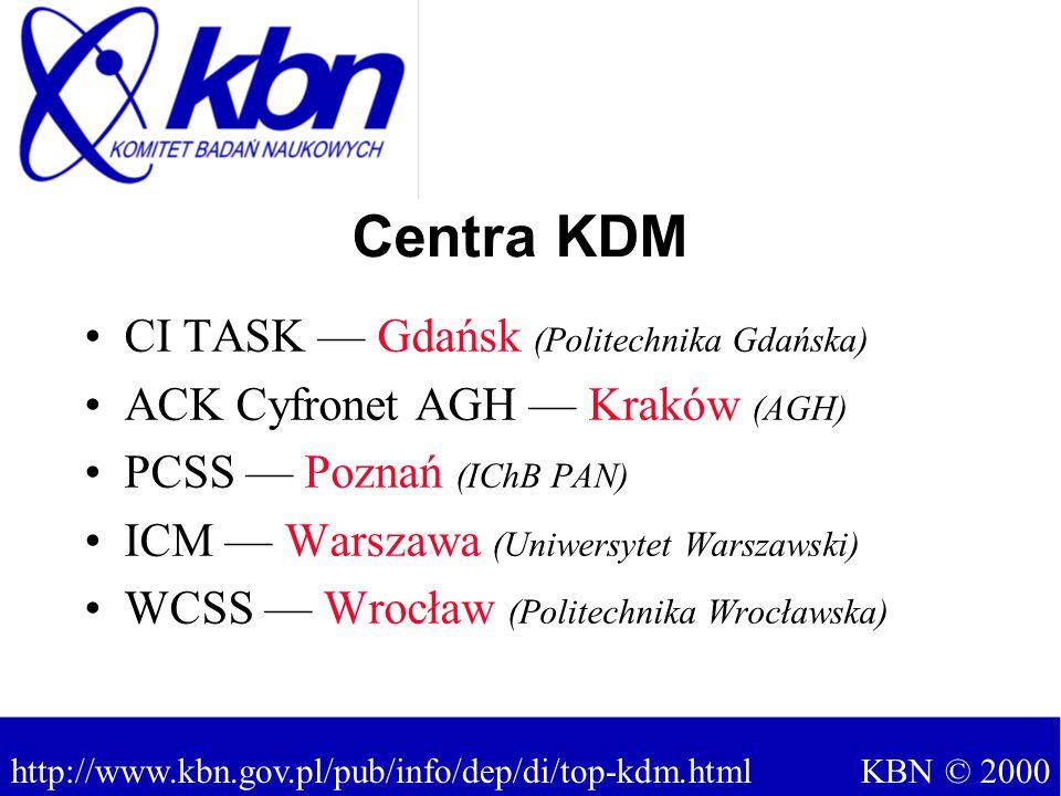 CI TASK — Gdańsk (Politechnika Gdańska) ACK Cyfronet AGH — Kraków (AGH) PCSS — Poznań (IChB PAN) ICM — Warszawa (Uniwersytet Warszawski) WCSS — Wrocław (Politechnika Wrocławska) Centra KDM KBN © 2000 http://www.kbn.gov.pl/pub/info/dep/di/top-kdm.html