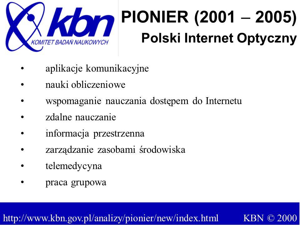 aplikacje komunikacyjne nauki obliczeniowe wspomaganie nauczania dostępem do Internetu zdalne nauczanie informacja przestrzenna zarządzanie zasobami środowiska telemedycyna praca grupowa PIONIER (2001 – 2005) Polski Internet Optyczny http://www.kbn.gov.pl/analizy/pionier/new/index.html KBN © 2000