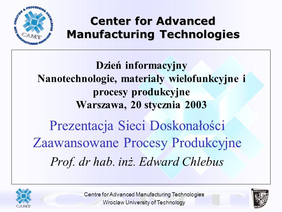 Centre for Advanced Manufacturing Technologies Wroclaw University of Technology Dzień informacyjny Nanotechnologie, materiały wielofunkcyjne i procesy