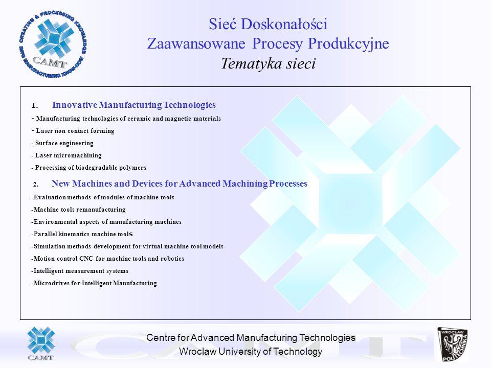 Centre for Advanced Manufacturing Technologies Wroclaw University of Technology Sieć Doskonałości Zaawansowane Procesy Produkcyjne Tematyka sieci 1. I