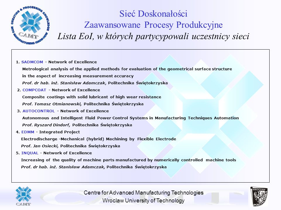 Centre for Advanced Manufacturing Technologies Wroclaw University of Technology Sieć Doskonałości Zaawansowane Procesy Produkcyjne Lista EoI, w których partycypowali uczestnicy sieci 1.