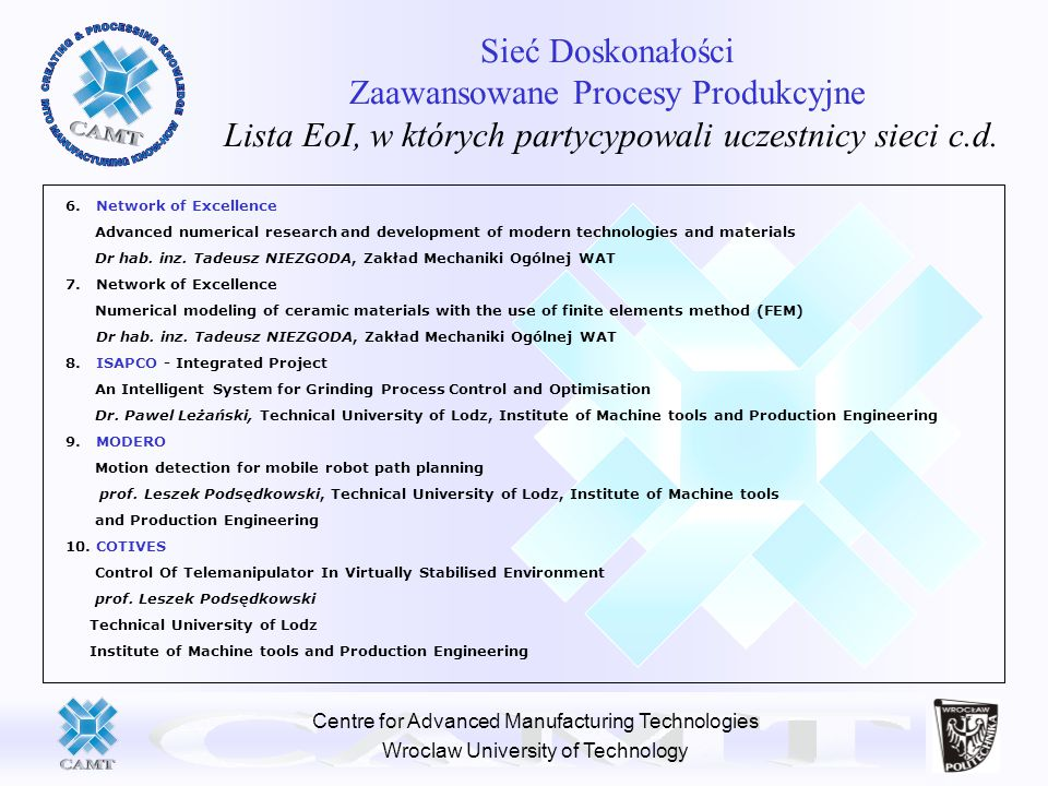 Centre for Advanced Manufacturing Technologies Wroclaw University of Technology Sieć Doskonałości Zaawansowane Procesy Produkcyjne Lista EoI, w których partycypowali uczestnicy sieci c.d.