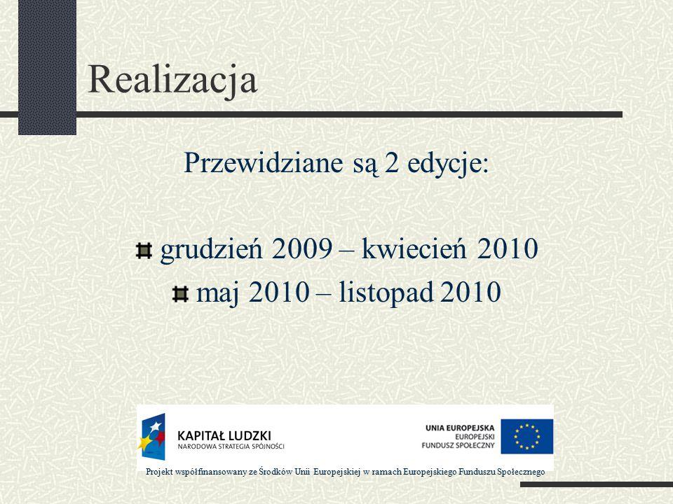 Realizacja Przewidziane są 2 edycje: grudzień 2009 – kwiecień 2010 maj 2010 – listopad 2010 Projekt współfinansowany ze Środków Unii Europejskiej w ramach Europejskiego Funduszu Społecznego