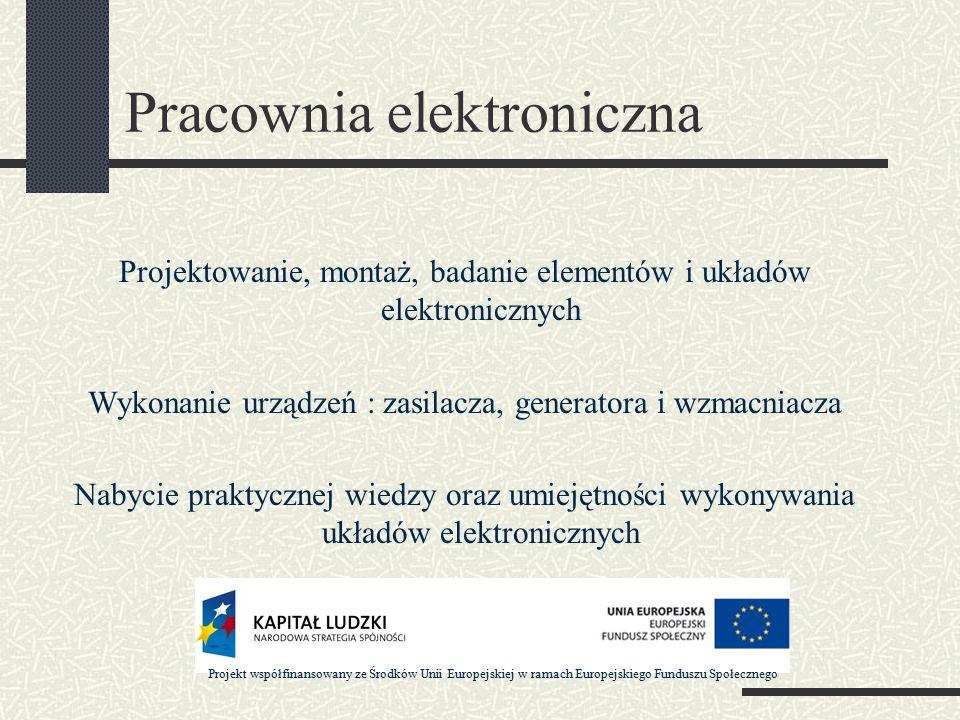 Pracownia elektroniczna Projektowanie, montaż, badanie elementów i układów elektronicznych Wykonanie urządzeń : zasilacza, generatora i wzmacniacza Nabycie praktycznej wiedzy oraz umiejętności wykonywania układów elektronicznych Projekt współfinansowany ze Środków Unii Europejskiej w ramach Europejskiego Funduszu Społecznego