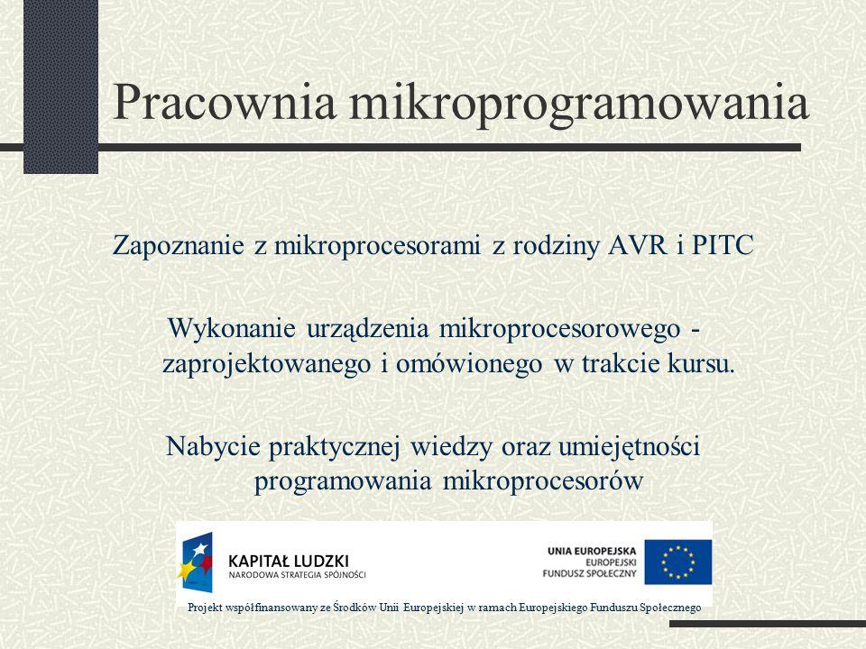 Pracownia mikroprogramowania Zapoznanie z mikroprocesorami z rodziny AVR i PITC Wykonanie urządzenia mikroprocesorowego - zaprojektowanego i omówionego w trakcie kursu.