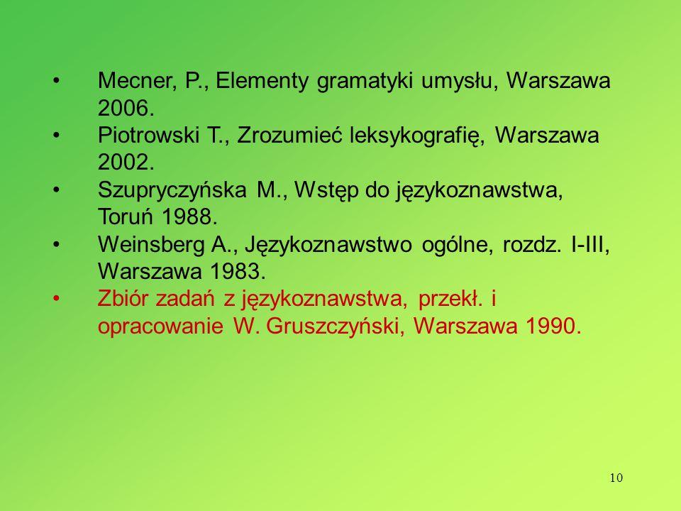 10 Mecner, P., Elementy gramatyki umysłu, Warszawa 2006.