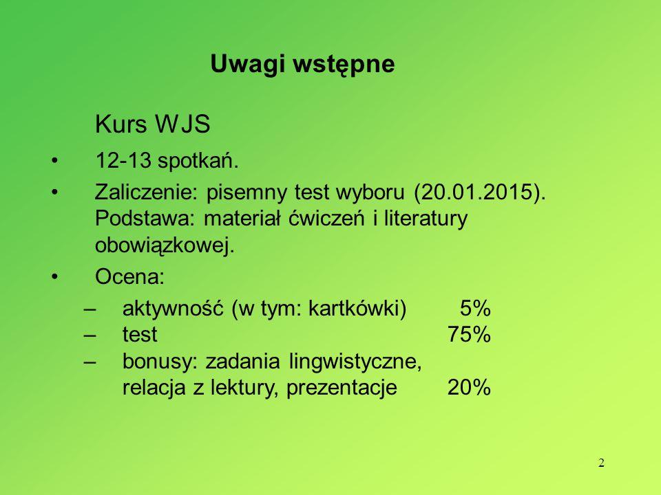 2 Kurs WJS 12-13 spotkań.Zaliczenie: pisemny test wyboru (20.01.2015).