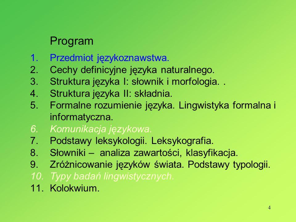 4 Program 1.Przedmiot językoznawstwa.2.Cechy definicyjne języka naturalnego.