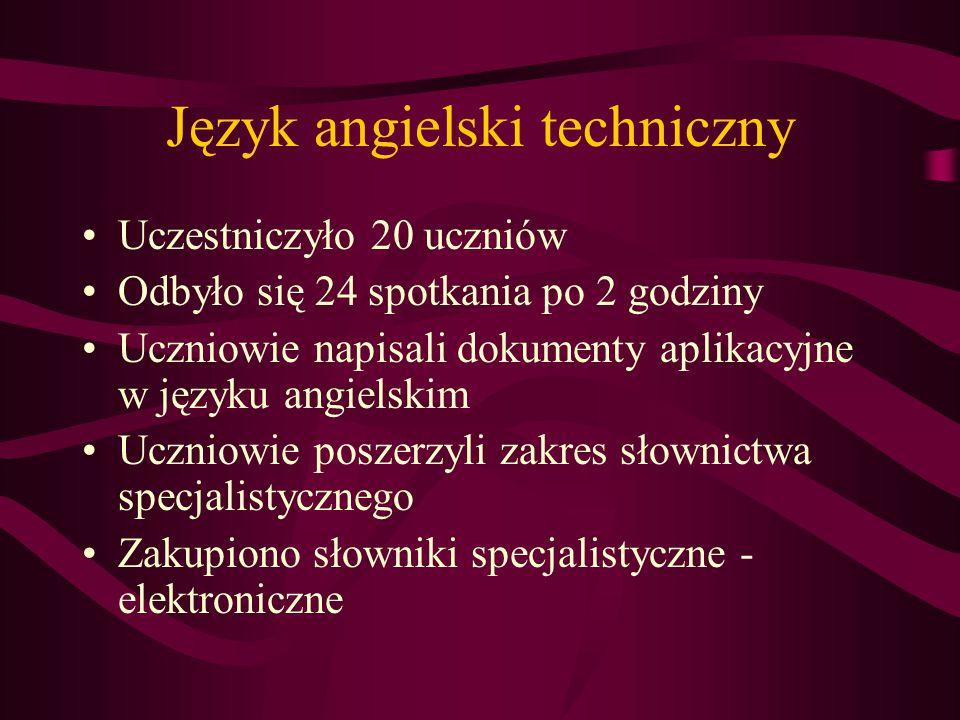 Język angielski techniczny Uczestniczyło 20 uczniów Odbyło się 24 spotkania po 2 godziny Uczniowie napisali dokumenty aplikacyjne w języku angielskim