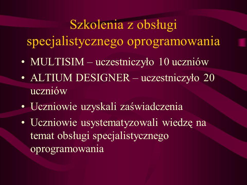 Szkolenia z obsługi specjalistycznego oprogramowania MULTISIM – uczestniczyło 10 uczniów ALTIUM DESIGNER – uczestniczyło 20 uczniów Uczniowie uzyskali