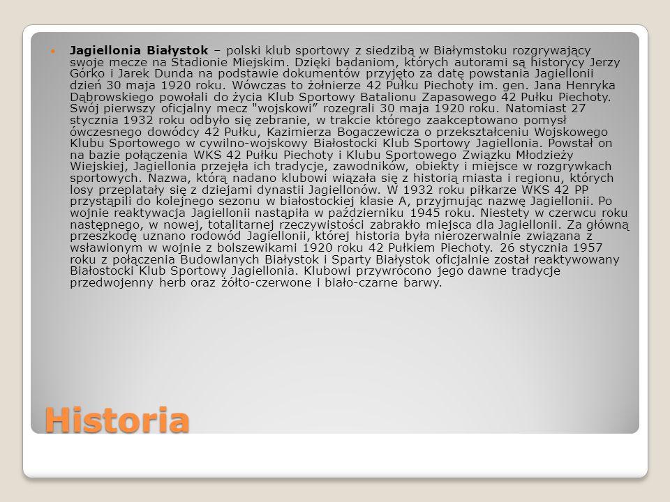 Historia Jagiellonia Białystok – polski klub sportowy z siedzibą w Białymstoku rozgrywający swoje mecze na Stadionie Miejskim. Dzięki badaniom, któryc