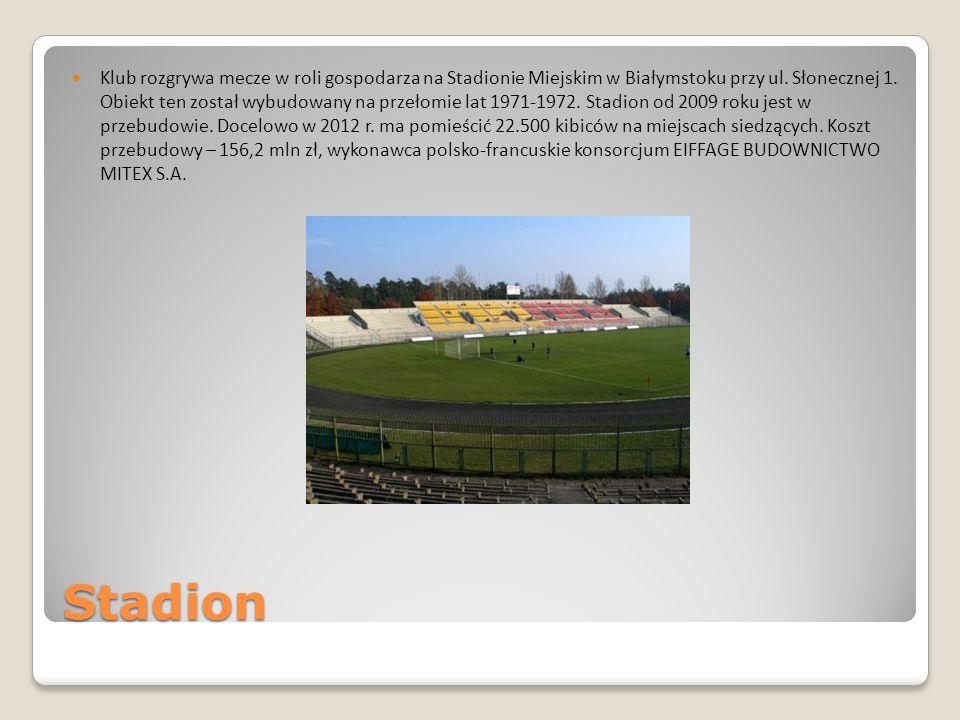 Stadion Klub rozgrywa mecze w roli gospodarza na Stadionie Miejskim w Białymstoku przy ul. Słonecznej 1. Obiekt ten został wybudowany na przełomie lat