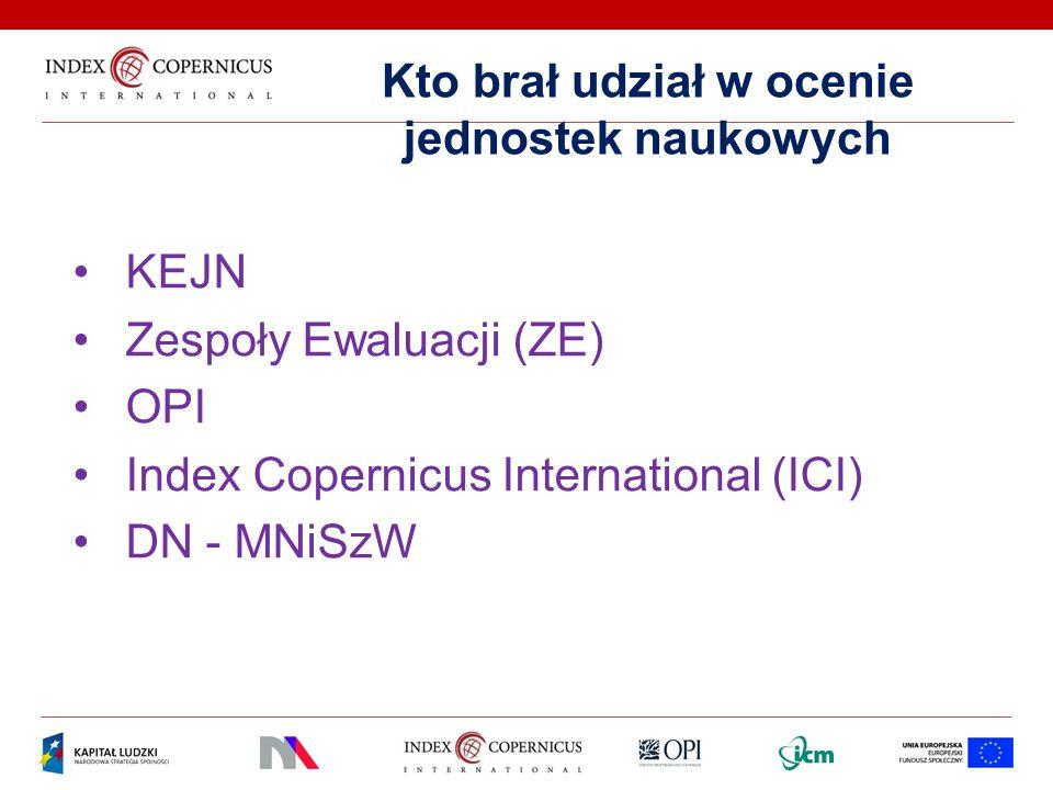 Kto brał udział w ocenie jednostek naukowych KEJN Zespoły Ewaluacji (ZE) OPI Index Copernicus International (ICI) DN - MNiSzW