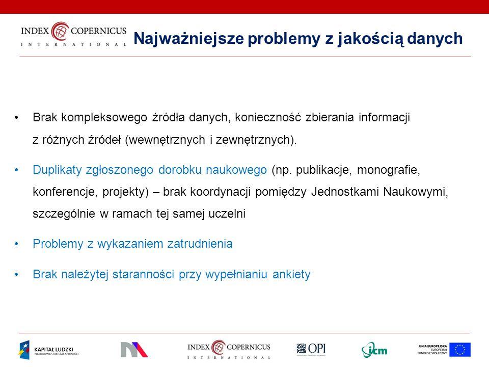 Najważniejsze problemy z jakością danych Brak kompleksowego źródła danych, konieczność zbierania informacji z różnych źródeł (wewnętrznych i zewnętrzn