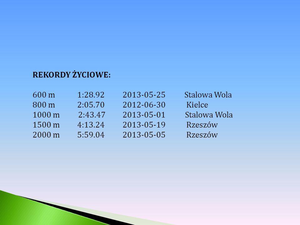 REKORDY ŻYCIOWE: 600 m 1:28.92 2013-05-25 Stalowa Wola 800 m 2:05.70 2012-06-30 Kielce 1000 m 2:43.47 2013-05-01 Stalowa Wola 1500 m 4:13.24 2013-05-19 Rzeszów 2000 m 5:59.04 2013-05-05 Rzeszów